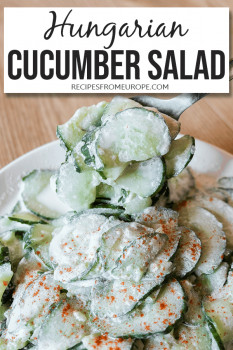Bowl full of cucumber salad with paprika and sour cream