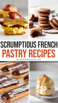 Collage of different french pastries with text overlay Pinterest Pin