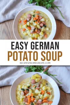 Photo Collage of two bowls of potato soup with spoon and other decorative items around