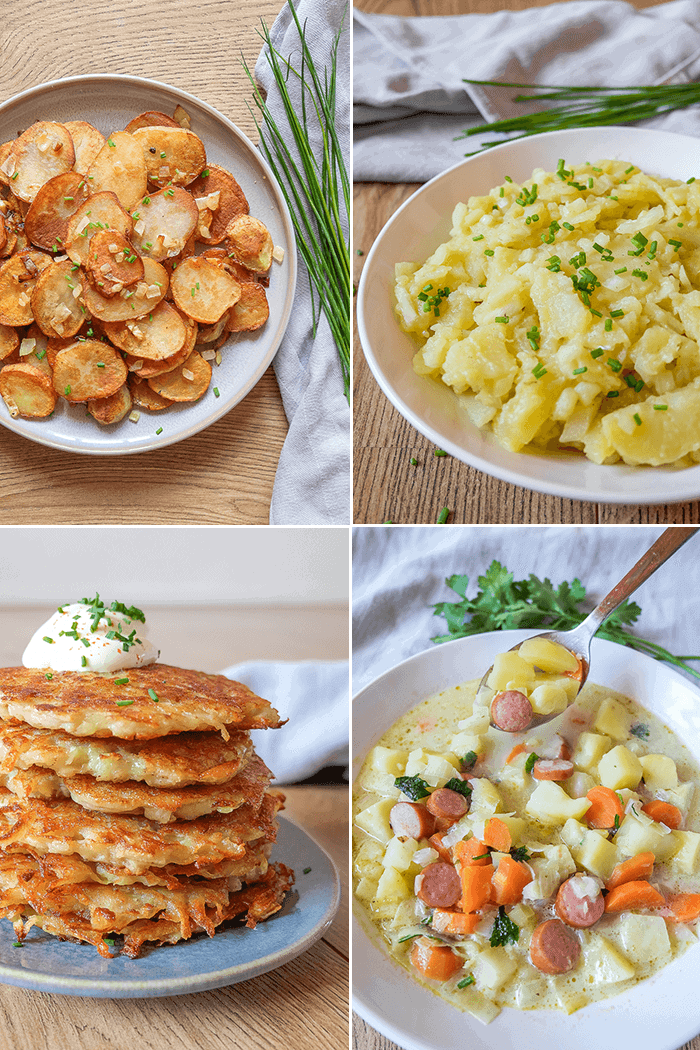 food plates with different german potato dishes