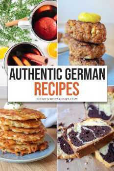 Photo Collage of different German dishes with text overlay for Pinterest