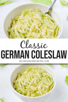 Photos of German coleslaw in white bowls with text overlay for Pinterest