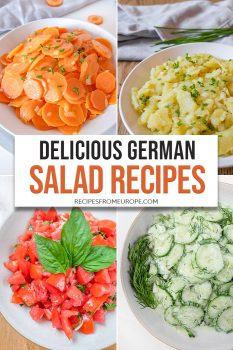 Photo Collage of carrot salad, potato salad, tomato salad and cucumber salad in bowl with text overlay
