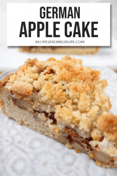 Slice of apple cake on purple plate and text overlay