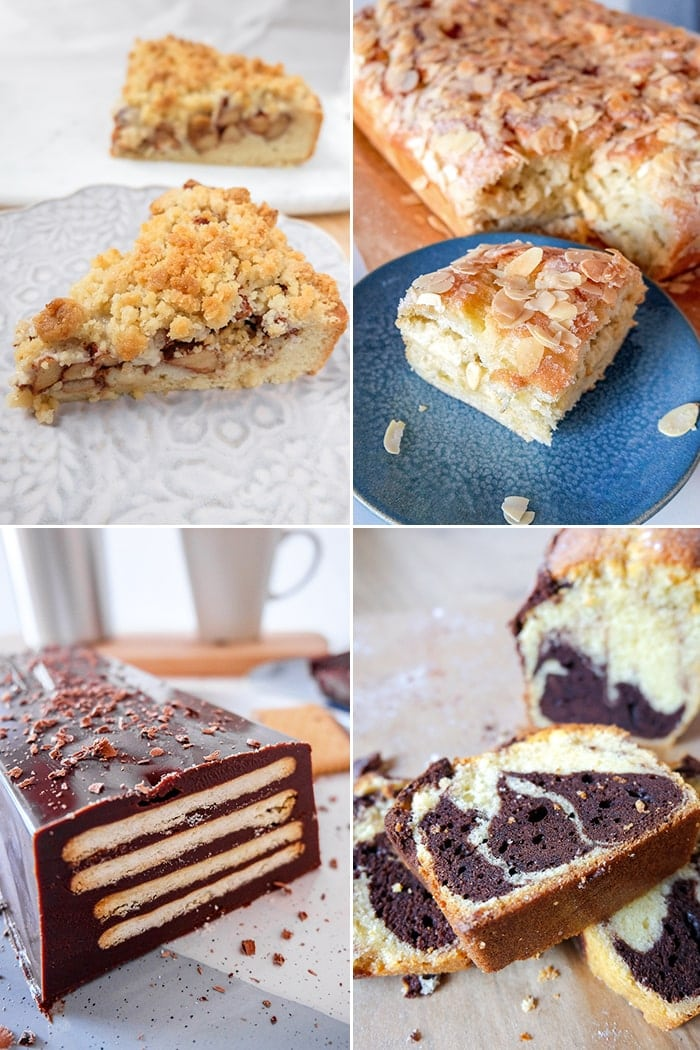 Collage of different slices of cakes on plates