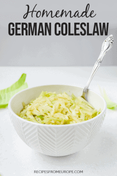 Photos of German coleslaw in white bowl with spoon with text overlay for Pinterest