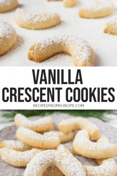 Photo collage of vanilla crescent cookies with text overlay for Pinterest