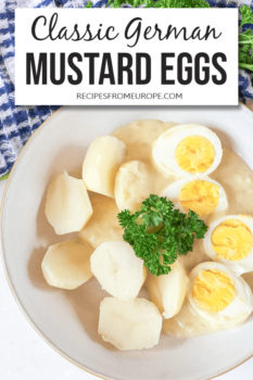 Photo of eggs and potatoes with mustard sauce in bowl and text overlay for Pinterest