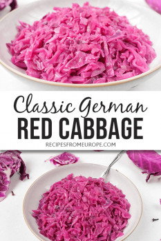 Photos of red cabbage in bowl with text overlay for Pinterest
