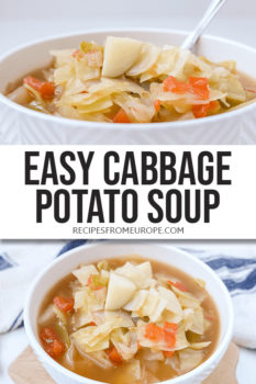 Photos of cabbage potato soup in bowl with text overlay for Pinterest