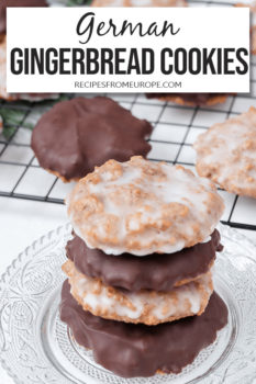 Photo of stacked gingerbread cookies with more in background and text overlay for Pinterest