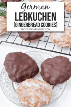 Photo of gingerbread cookies on clear plate with more in background and text overlay for Pinterest