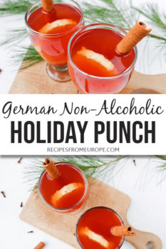 Photo Collage of red drink in clear glass with decorations and text overlay for Pinterest