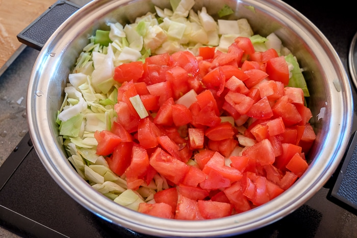 chopped tomatoes and cabbage in silver pot on stovetop