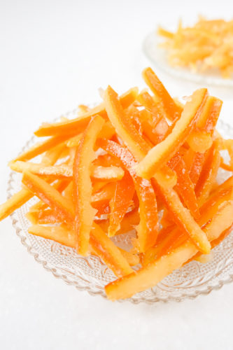 clear plate of candied orange peel