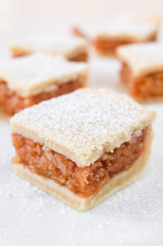 hungarian apple pie square with icing sugar on top