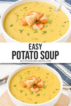 Two photos of creamy potato soup in white bowl with croutons and text overlay for Pinterest