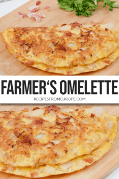 Photo collage of omelette on wooden cutting board with text overlay for Pinterest