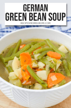 Photo of green bean soup in white bowl with text overlay for Pinterest