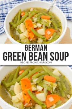 Two photos of green bean soup in white bowl with spoon and text overlay in middle for Pinterest