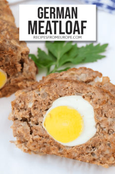 Photo of slice of meatloaf with boiled egg inside and text overlay for Pinterest