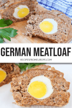 Two photos of slices of meatloaf with boiled egg inside and text overlay for Pinterest