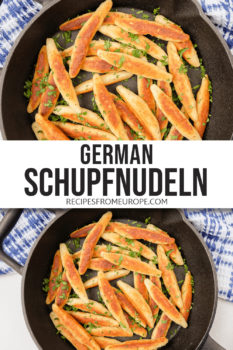 photo collage of German potato noodles in black cast iron pan with cut up parsley and text overlay for Pinterest
