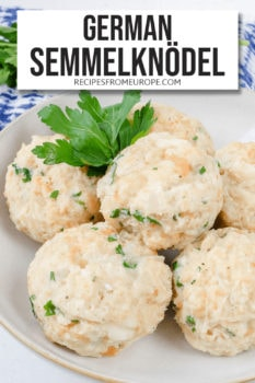 Photo of bread dumplings in bowl with parsley for decoration and text overlay at top for Pinterest