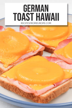 Photo of toast with ham, pineapple and melted cheese and text overlay for Pinterest