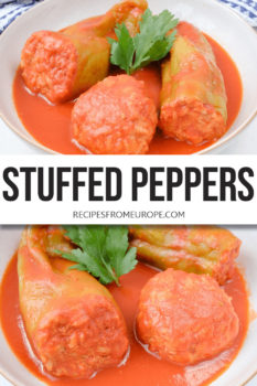 Photos of stuffed peppers and meatballs with tomato sauce in bowl and text overlay in middle for Pinterest