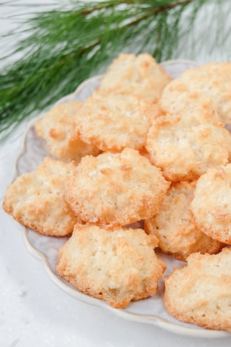 easy coconut macaroons on plate with pine branch behind