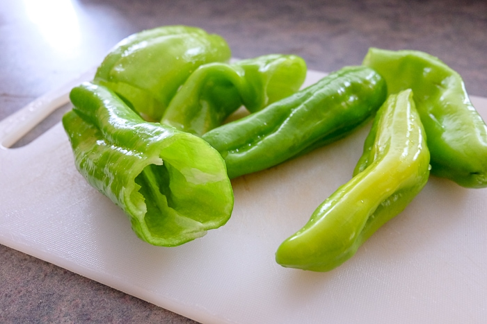 green peppers without seeds on cutting board