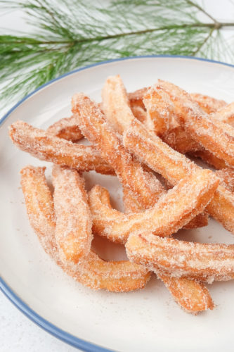 fried spanish churros on plate with branch behind