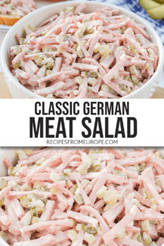 """Photo collage of german meat salad in white bowl with text overlay saying """"classic German meat salad"""""""