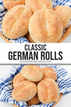 Photo collage of bread rolls in basket with blue with dishtowel and text overlay for Pinterest