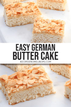 Photo collage of slices of German butter cake on white marble with text overlay for Pinterest