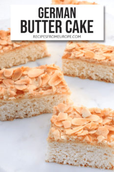Photo of slices of butter cake on white marble with text overlay for Pinterest