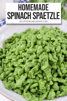 """green spinach spaetzle in grey bowl with text overlay saying """"homemade spinach spaetzle"""""""