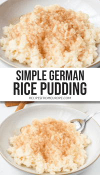 Photo collage of German rice pudding with cinnamon and sugar in bowl with text overlay for Pinterest