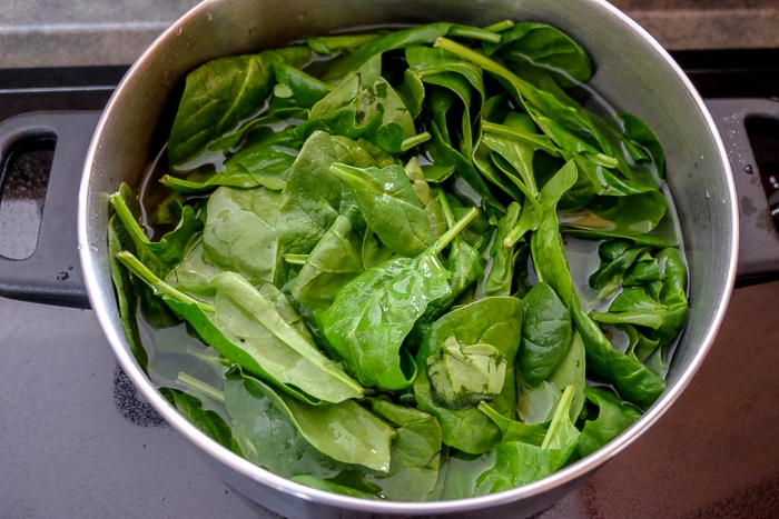 raw spinach in silver pot on stove top