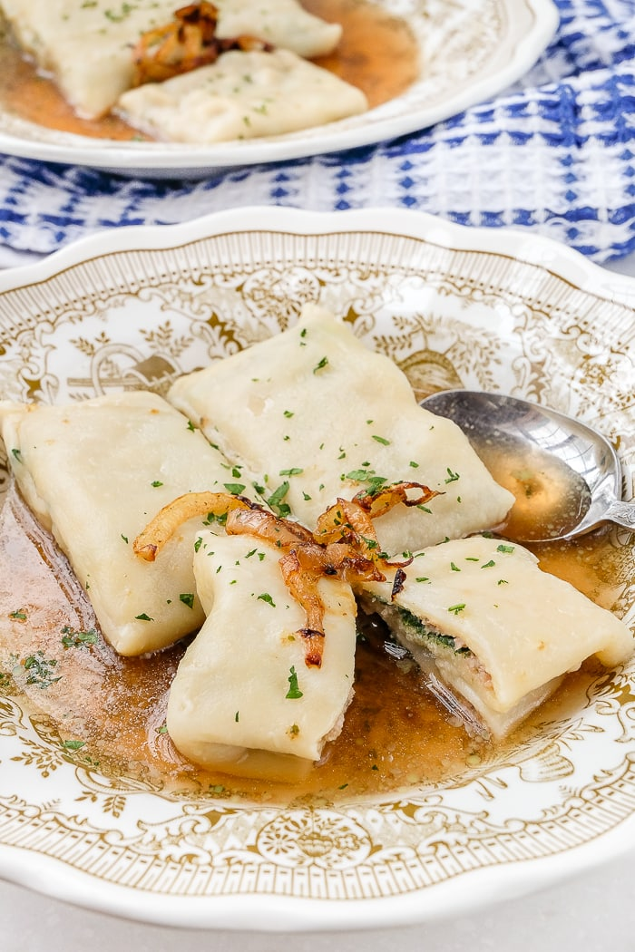 german maultaschen in bowl with beef broth