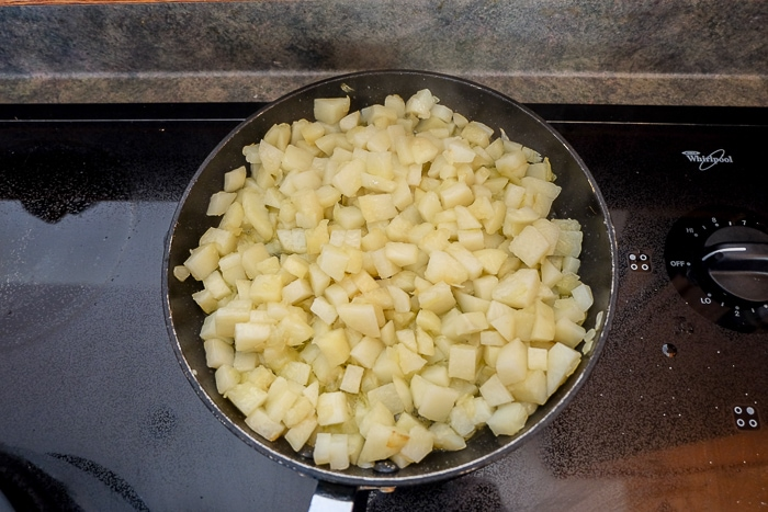 potatoes soft in frying pan on stove top