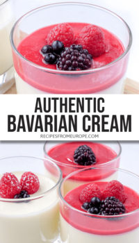 """Photo collage of bavarian cream in glass with pureed fruit and berries on top plus text overlay saying """"authentic Bavarian cream"""""""
