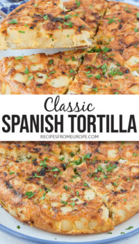 """photo collage of slices of spanish potato omelette on plate with text overlay saying """"classic Spanish tortilla"""""""