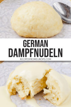 """photo collage of yeast dumplings on purple plate with vanilla sauce around it and text overlay saying """"German dampfnudeln"""""""