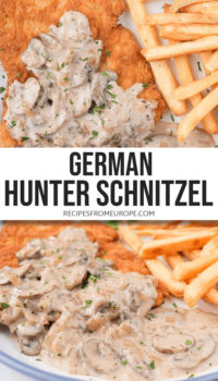 """photo collage of breaded schnitzel with brown mushroom gravy and french fries on plate with blue rim and text overlay saying """"german hunter schnitzel"""""""