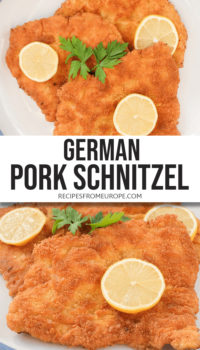 """photo collage of of breaded and fried schnitzel on plate with slice of lemon on top plus text overlay saying """"German pork schnitzel"""""""