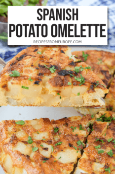 """slice of spanish potato omelette on cake server with rest of omelette in background and text overlay saying """"Spanish potato omelette"""""""