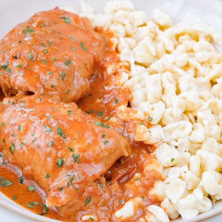 hungarian chicken paprikash with egg dumplings in bowl