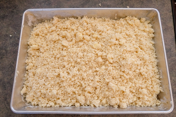 crumbs placed on pudding cake in silver baking pan